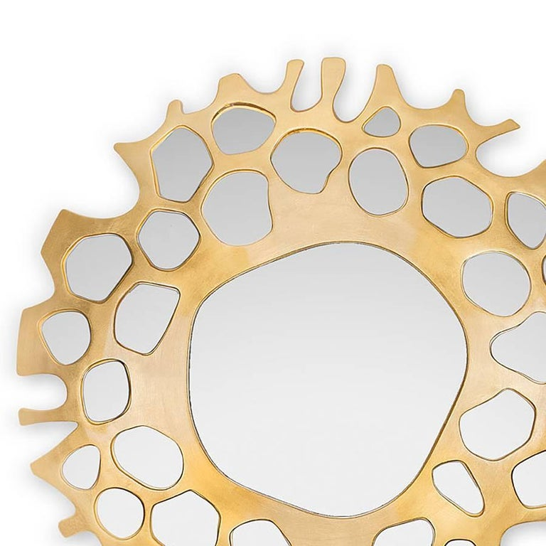 Mirror Gold Pearl with hand-carved solid  wood structure hand-painted with gold leaf.  With Mirror glass.