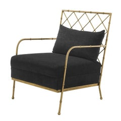 Tropic Armchair with black velvet fabric in Brass or Nickel Finish