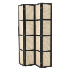 Evora Folding Screen in Black Lacquered Solid Mahogany Wood