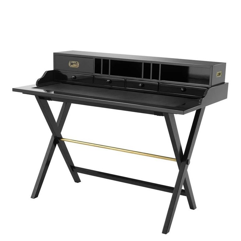 Lawrence Desk in Solid Mahogany in Black or Natural Finish