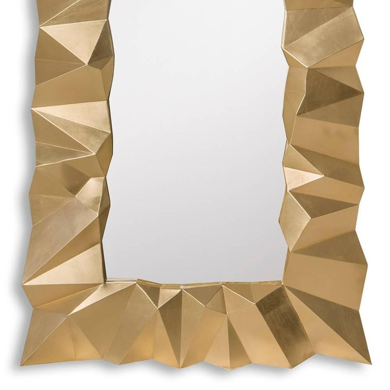 Contemporary Asymmetric Mirror in Solid Mahogany in Gold Finish For Sale