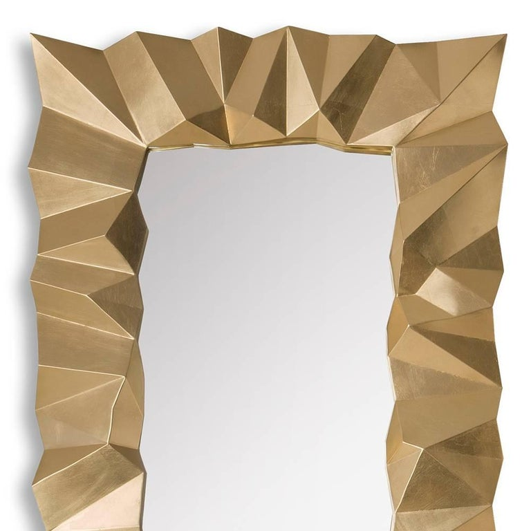 Hand-Carved Asymmetric Mirror in Solid Mahogany in Gold Finish For Sale