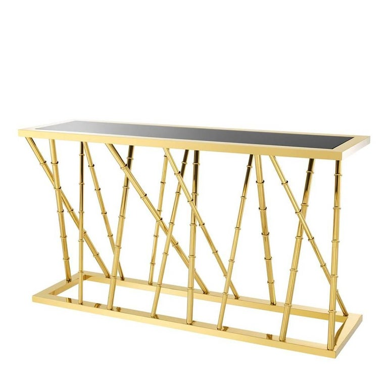 Gold Bamboo Console Table in Gold Finish