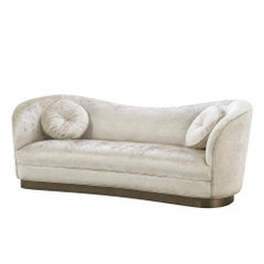 Kennedy Sofa with Off-White Shiny Fabric and Bronze Base