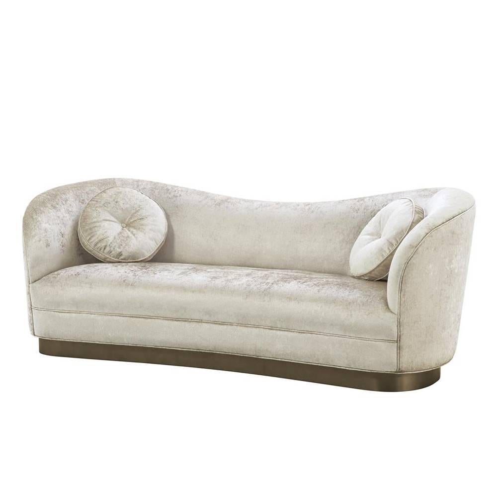 Kennedy Sofa With Off White Shiny Fabric And Bronze Base