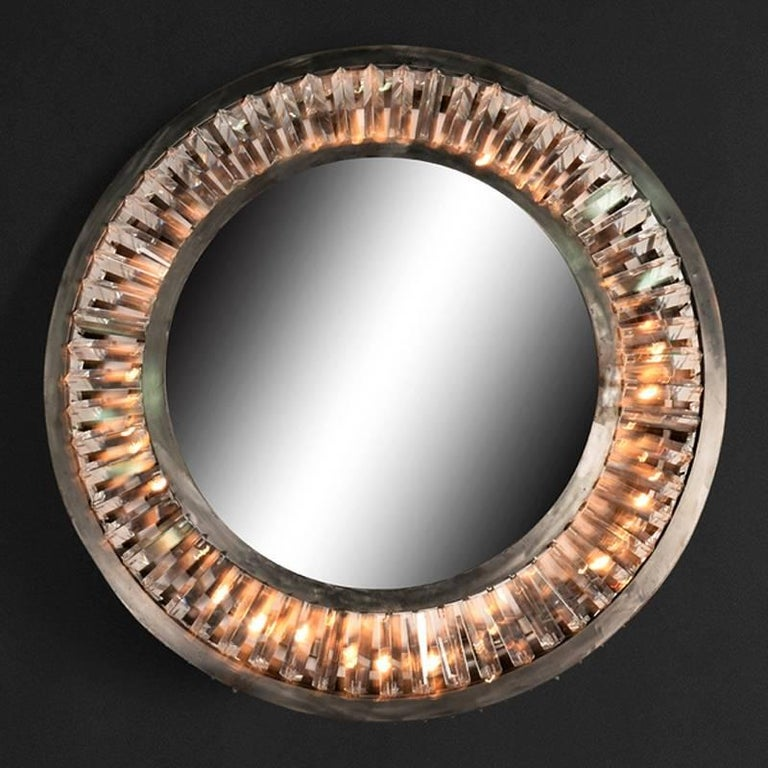 Round mirror Art Deco style with sparkling carved