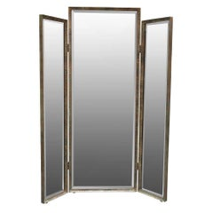 Three Panels Mirror in Hammered Iron