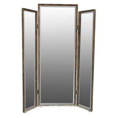 Three Panels Mirror in Hammered Iron