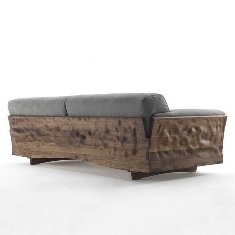 Italian Extreme Wood Sofa in Solid Walnut Wood and Genuine Grey Leather For Sale