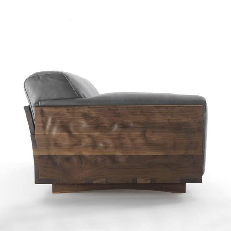 Hand-Crafted Extreme Wood Sofa in Solid Walnut Wood and Genuine Grey Leather For Sale