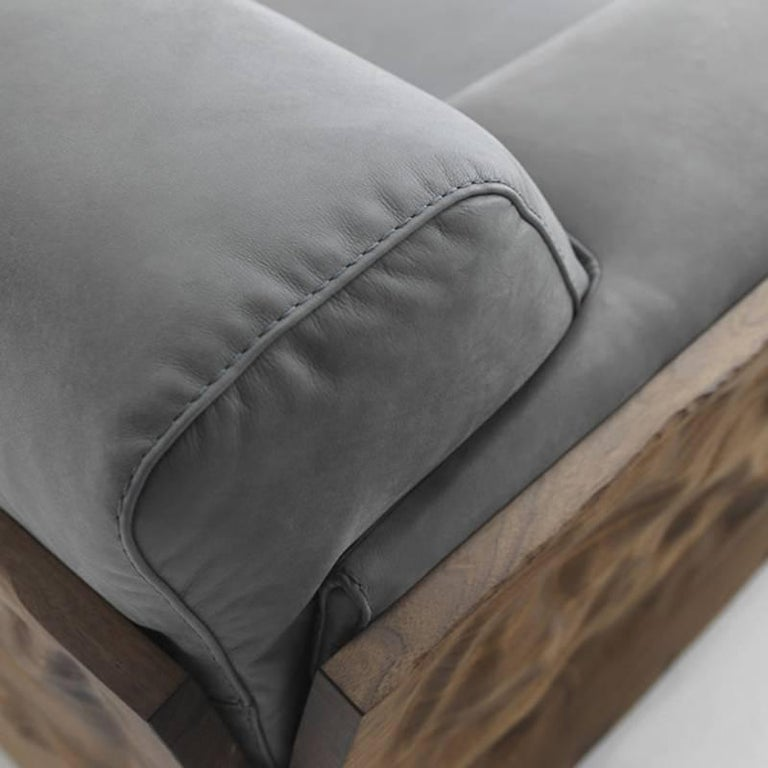 Extreme Wood Sofa in Solid Walnut Wood and Genuine Grey Leather For Sale 1
