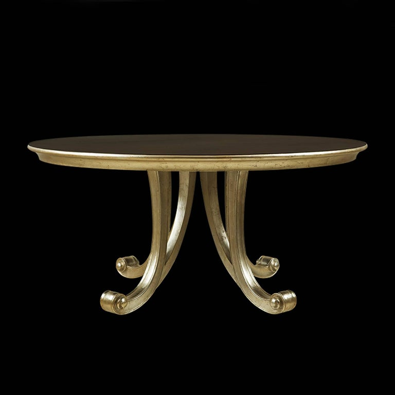 Contemporary Orcade Round Table in Solid Mahogany Wood and Gold Paint For Sale