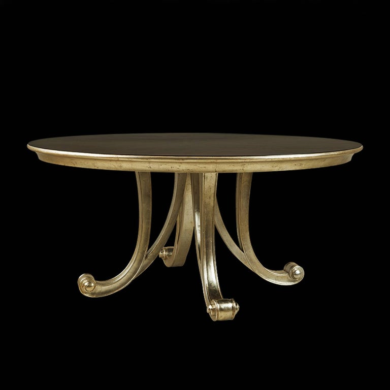 Orcade Round Table in Solid Mahogany Wood and Gold Paint For Sale 1
