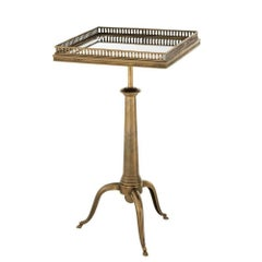 Vallet Side Table in Vintage Brass or Gunmetal or Silver Plated Finish