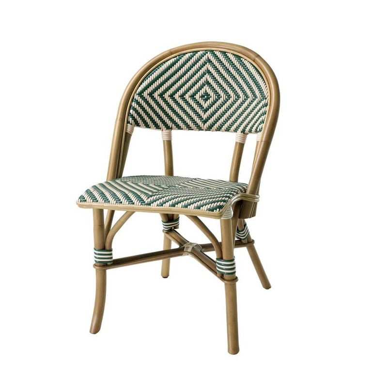 Parisian Café Green Chair in Natural Rattan