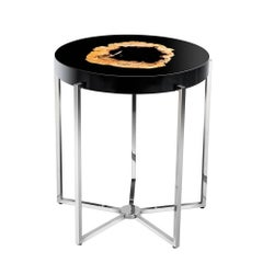 Petrified Wood Round Side Table Black Glossy and Nickel Base