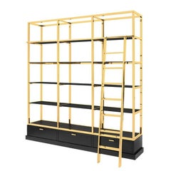 Salon Bookcase in Gold or Chrome Finish