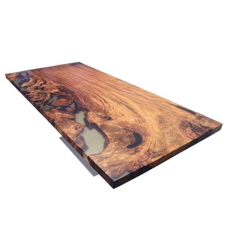 Hand-Crafted Kauri Wood with Resin Dinning Table For Sale