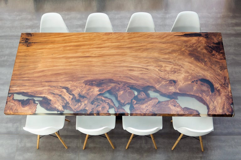 Contemporary Kauri Wood with Resin Dinning Table For Sale