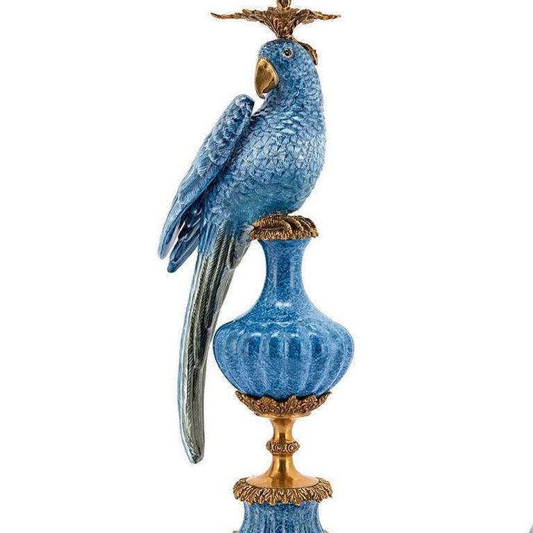 Italian Blue Parrot Set of 2 Candleholder in Porcelain For Sale