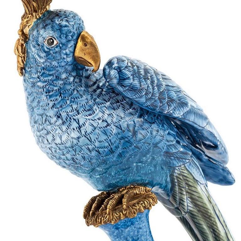 Bronze Blue Parrot Set of 2 Candleholder in Porcelain For Sale