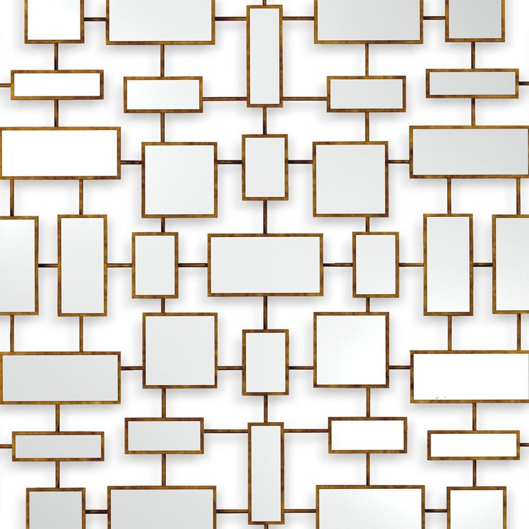 English Multi Squares Mirror in Solid Mahogany in Antique Gold Finish For Sale
