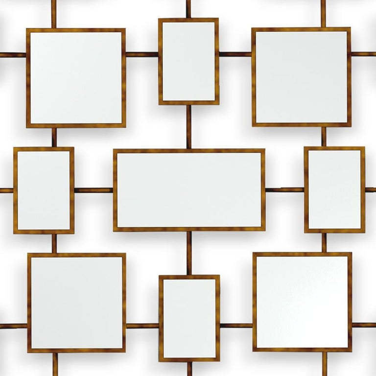 Contemporary Multi Squares Mirror in Solid Mahogany in Antique Gold Finish For Sale