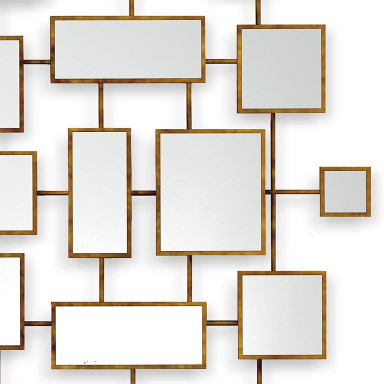 Multi Squares Mirror in Solid Mahogany in Antique Gold Finish In New Condition For Sale In Paris, FR