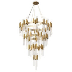 Fall Chandelier with Crystal Glass Fine Tubes