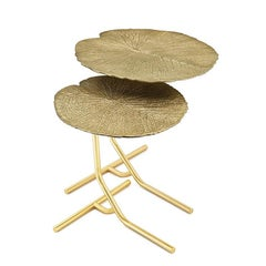 Lotus Leaves Gold Side Table Set of Two