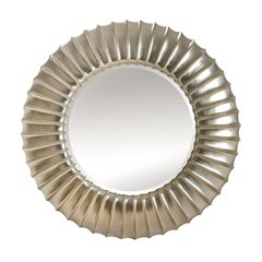 Scales Round Mirror with Mahogany Frame in Silver Finish