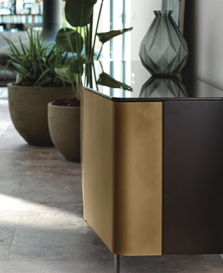 Hand-Crafted Flat Glass Sideboard Coated with Acid-Etched Glass For Sale