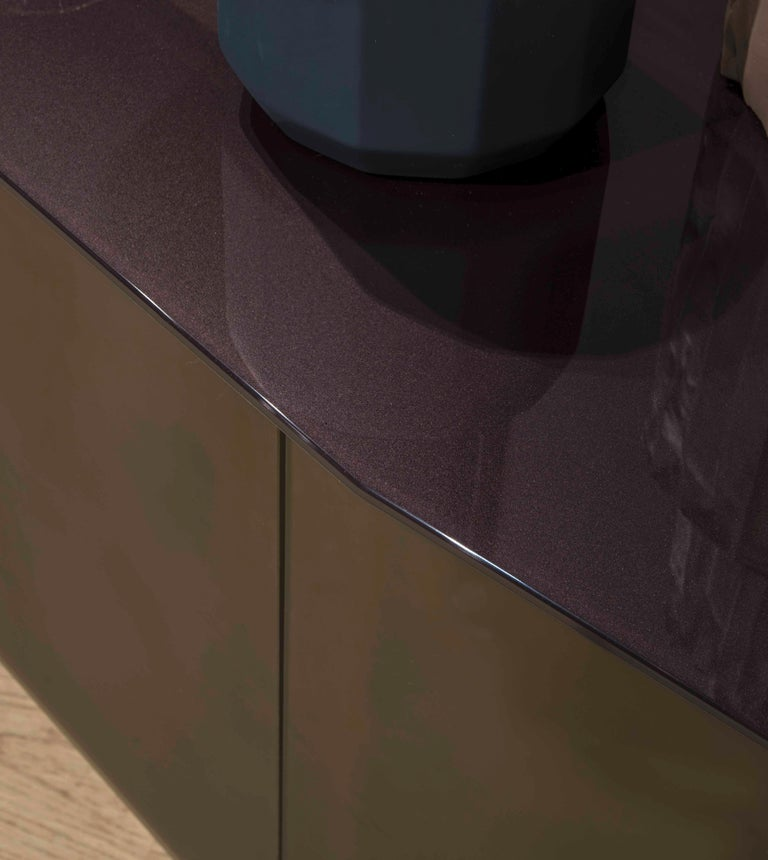 Italian Flat Glass Sideboard Coated with Acid-Etched Glass For Sale