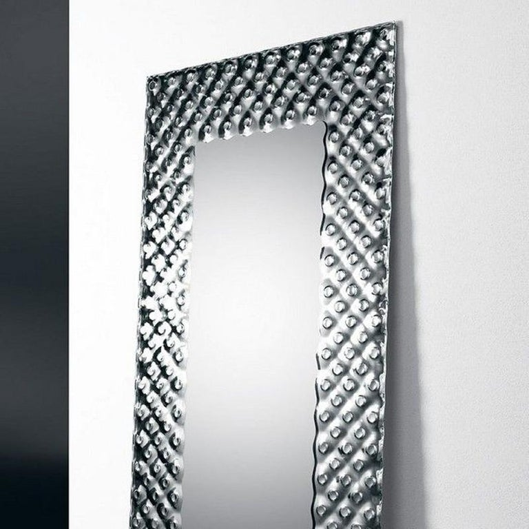 Italian Glass Pearl Rectangular Mirror For Sale