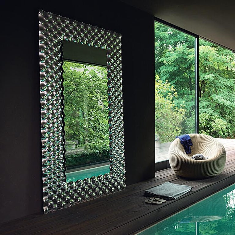 Glass Pearl Rectangular Mirror In New Condition For Sale In Paris, FR