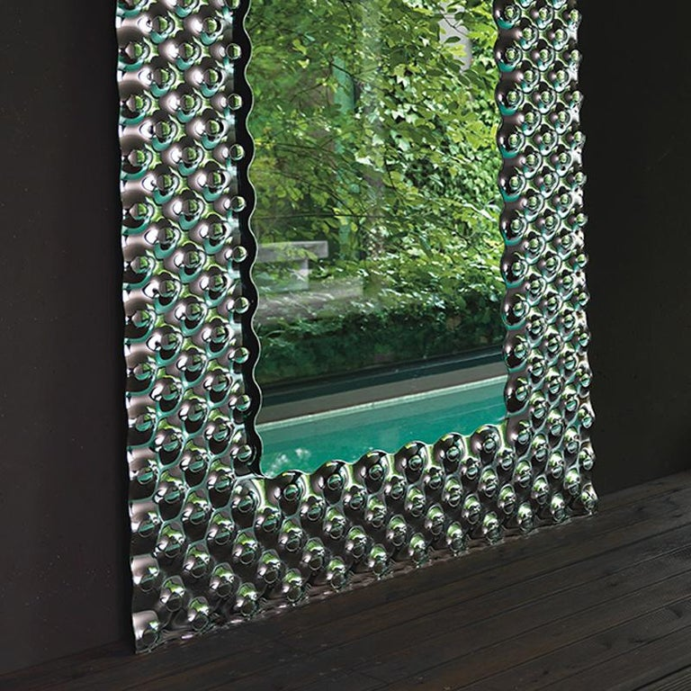Metal Glass Pearl Rectangular Mirror For Sale