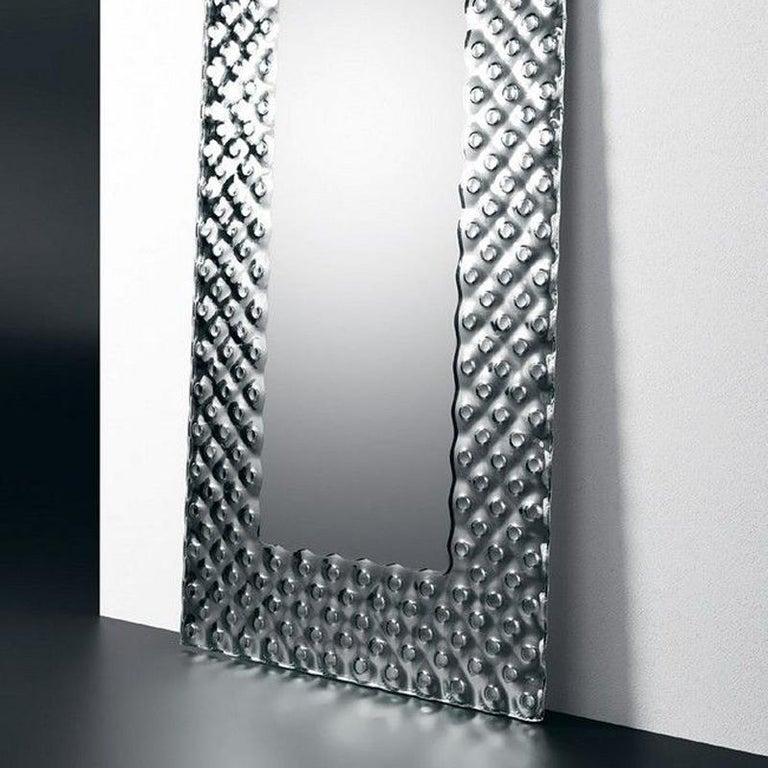 Hand-Crafted Glass Pearl Rectangular Mirror For Sale