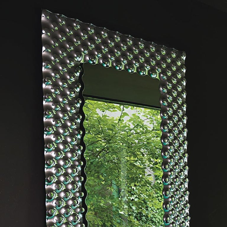 Contemporary Glass Pearl Rectangular Mirror For Sale