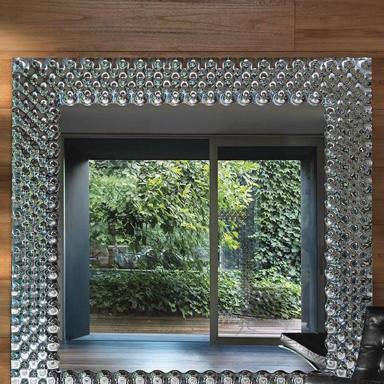 Italian Glass Pearl Square Mirror For Sale
