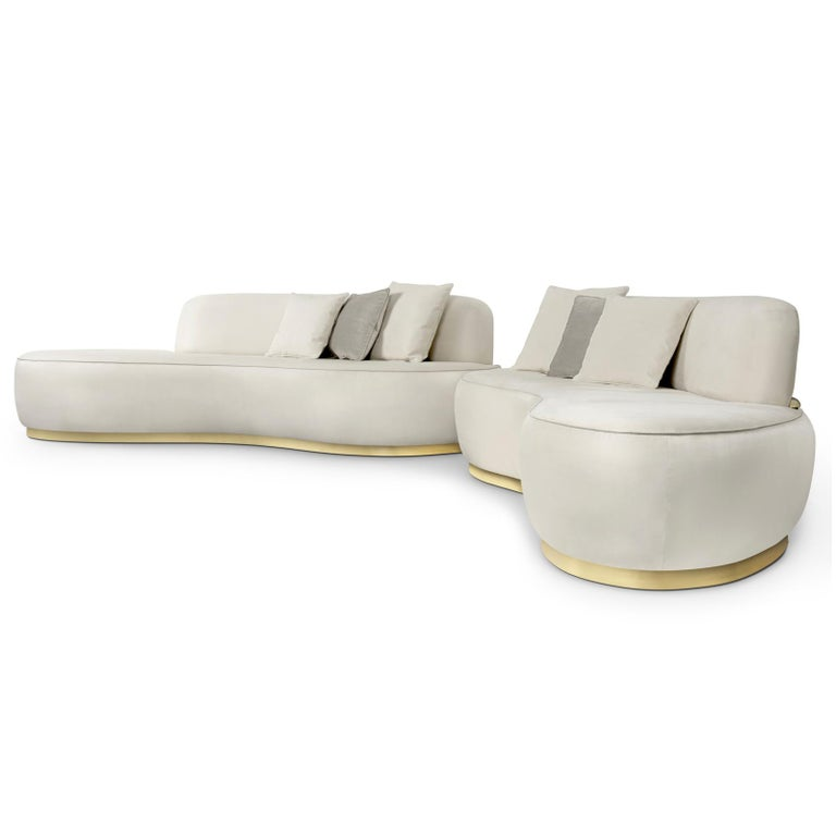 Curved White Sofa For 1
