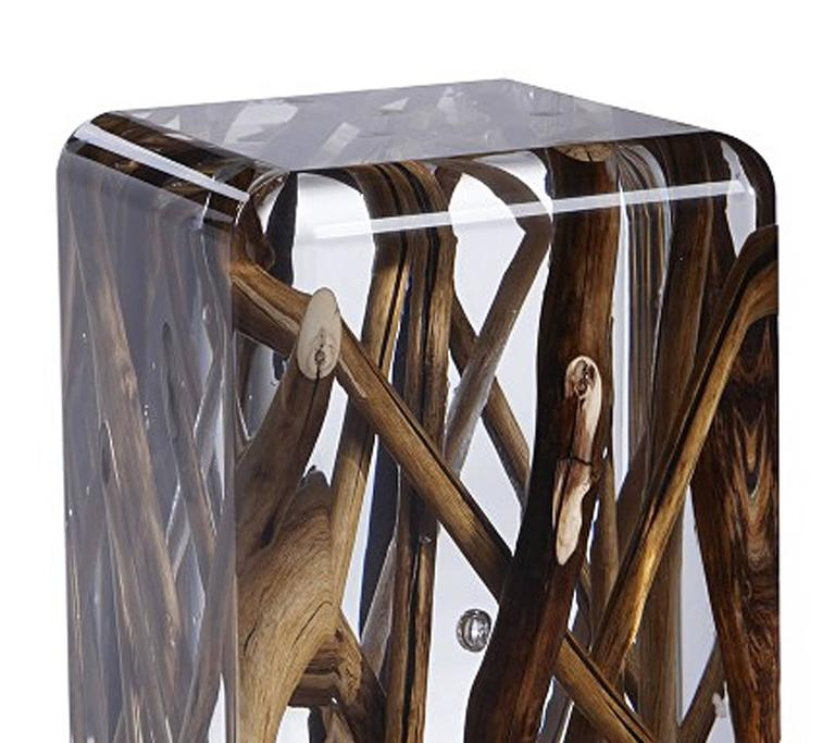 Side Table in Acrylic Glass and Burntwood Kisimi Ice 2