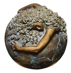 Unique Sculpture Woman Earth Globe Bronze