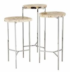 Side Tables Set of Three with Stainless Steel Structure and Petrified Wood Top