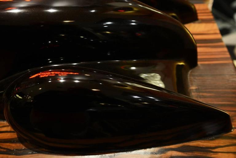 Sculpture of a Vintage Car, Aubuan Resin Molding on Ebony Base In Excellent Condition For Sale In Paris, FR