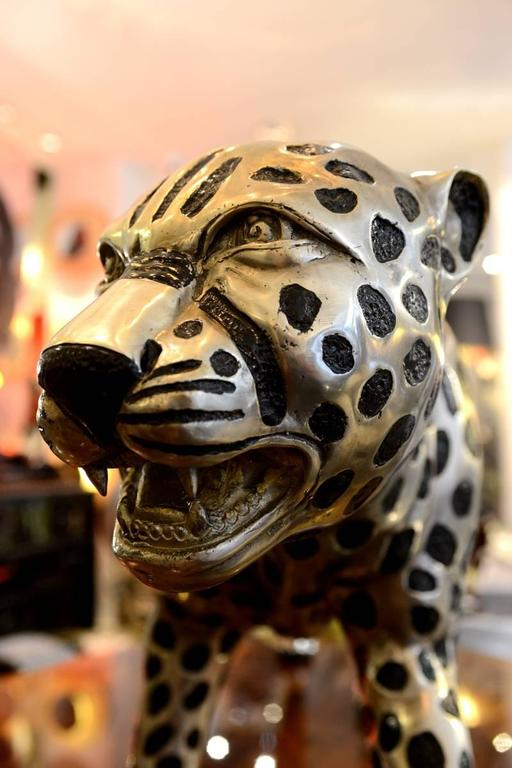 French Cheetah in Black and Silvered Bronze For Sale