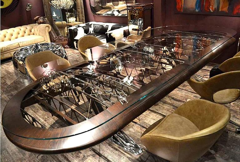 Conference table, made from original structure  of Boeing Bi-Plan Wing. Top in thick clear glass.  Exceptional piece.