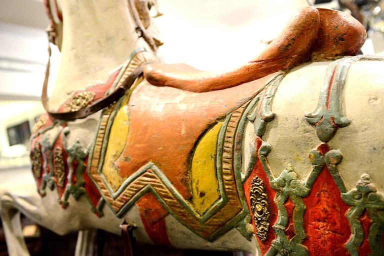 20th Century Carved Horse, Wood, Hand-Painted, 1910, Atelier Hübner & Poeppig, Germany. For Sale