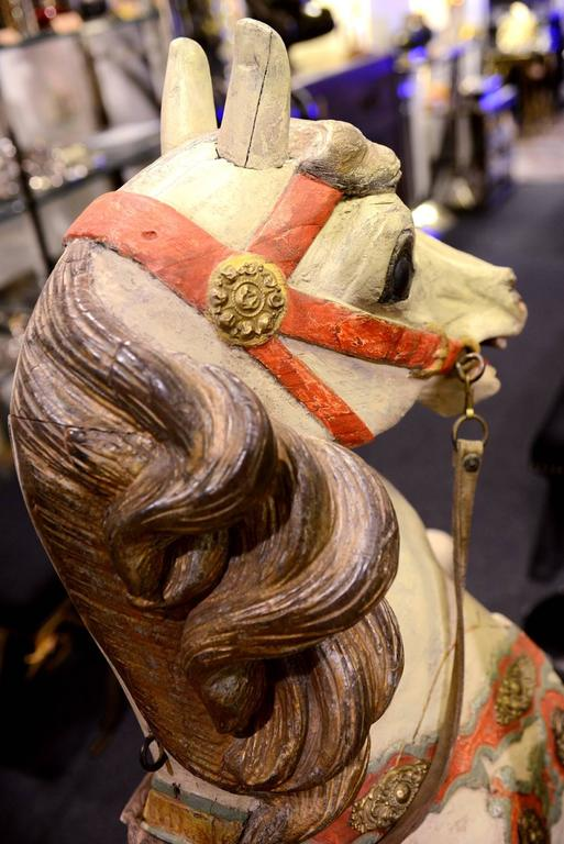 Carved Horse, Wood, Hand-Painted, 1910, Atelier Hübner & Poeppig, Germany. For Sale 4