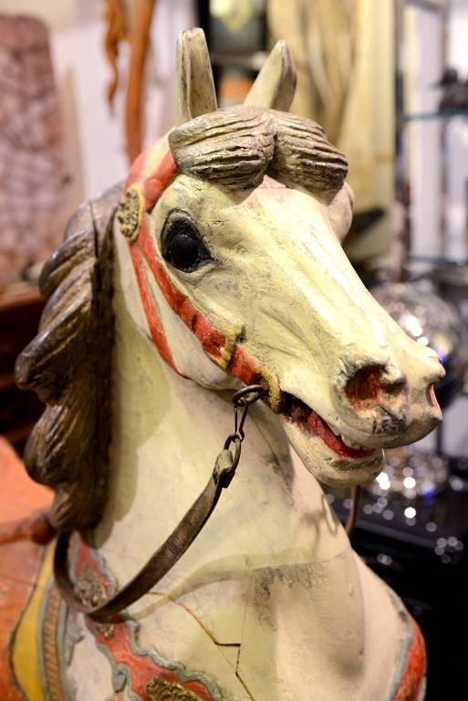 Carved Horse, Wood, Hand-Painted, 1910, Atelier Hübner & Poeppig, Germany. For Sale 5