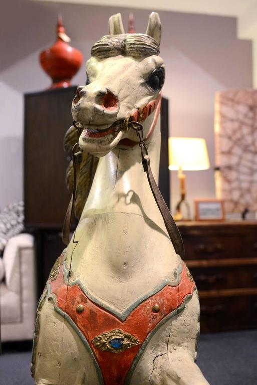 Carved Horse, Wood, Hand-Painted, 1910, Atelier Hübner & Poeppig, Germany. For Sale 3